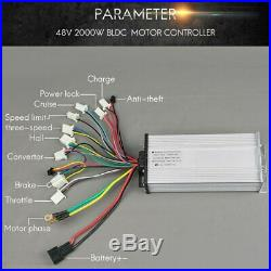 48V 2000W Brushless DC Electric Motor For Electric Bicycle Bike Controller LCD